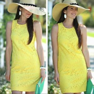 Banana republic yellow leaf lace perforated shift